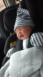 Newborn in Recaro Zero.1
