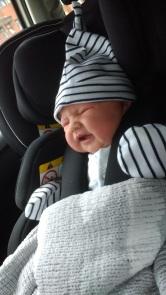 Newborn in Recaro Zero.1